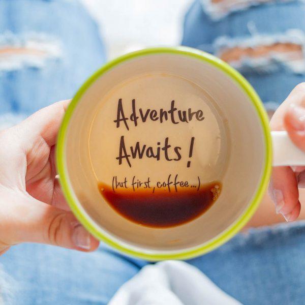 Adventure awaits, but first coffee Handmade Mug