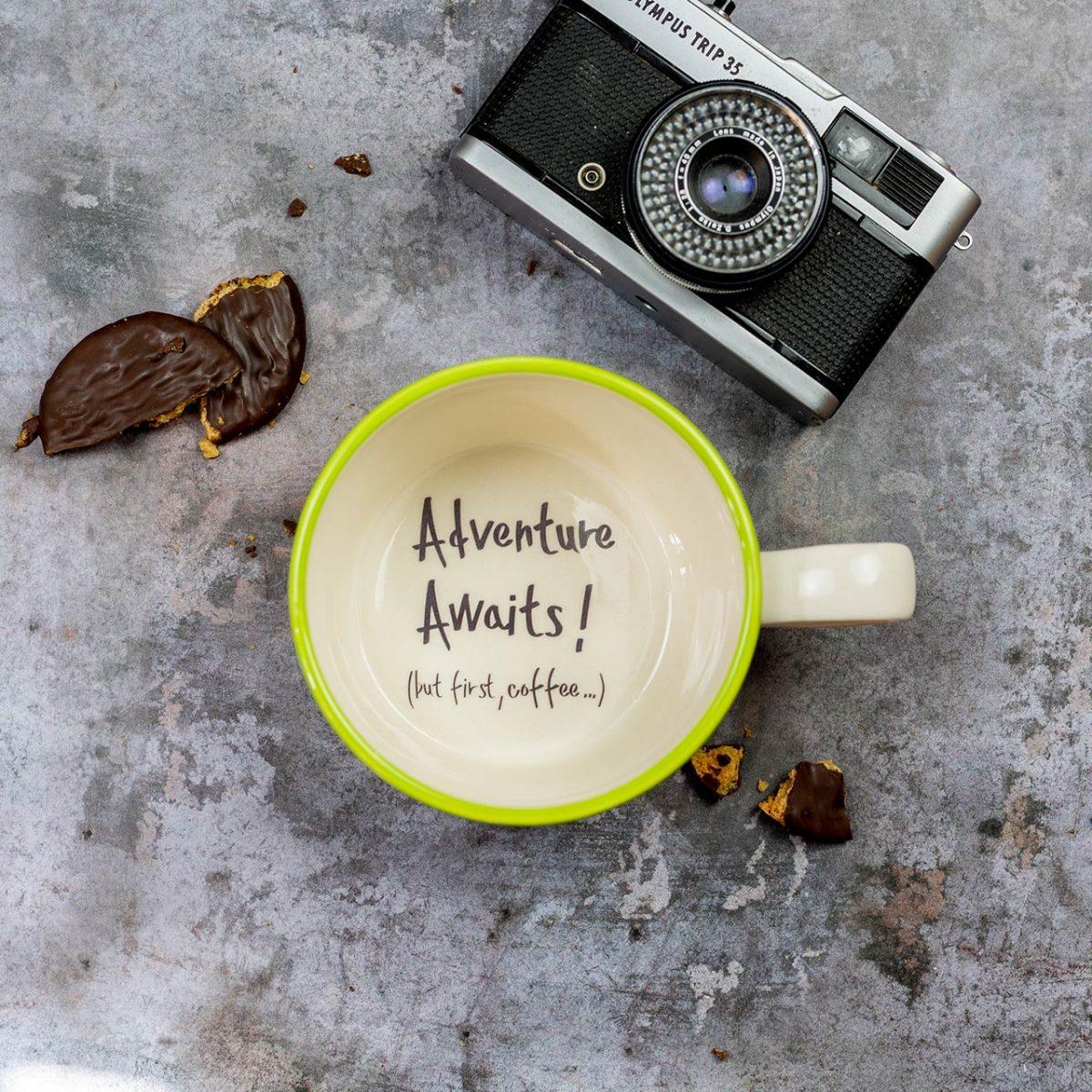 Adventure awaits, but first coffee Handmade Mug Gift