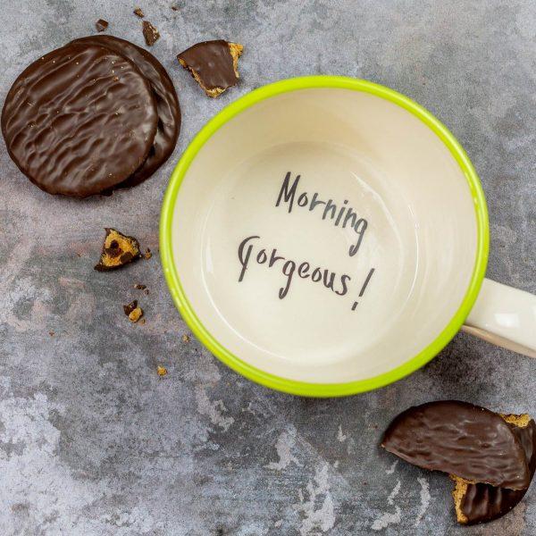 Morning gorgeous! Handmade cup mug gift for wife girlfriend