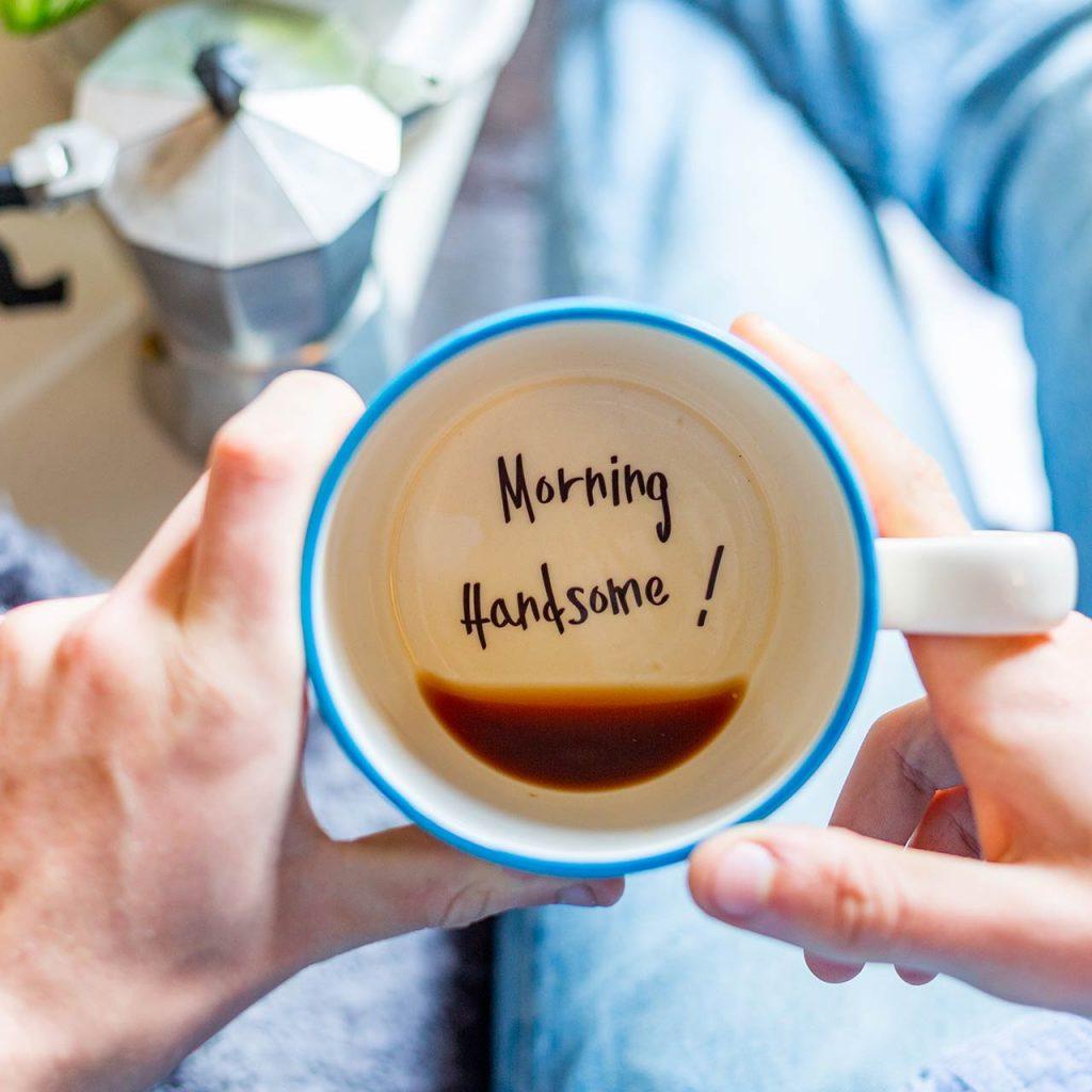 Morning handsome perfect gift mug for husband boyfriend